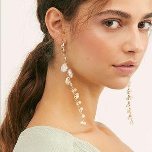Free People Gold Cascading Pearl Drop Earrings